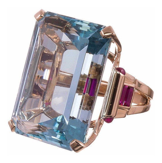 Anel Em Pedra Natural Cor Azul Aqua Translucida