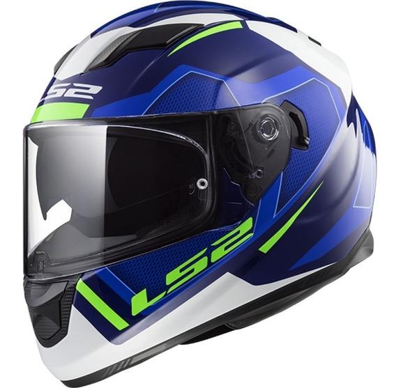 Casco Moto Integral Ls2 320 Axis Azul Doble Visor Yuhmak