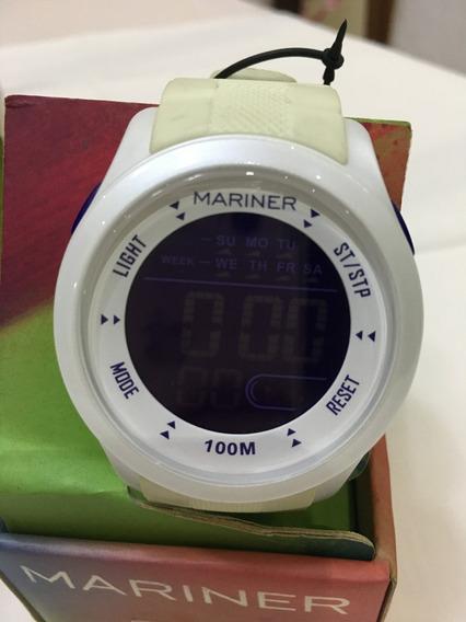 Relógio De Pulso Mariner Sport Gva8r Branco Digital 10atm