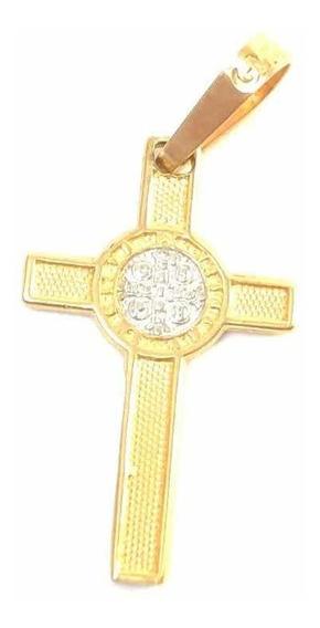 Dije Medalla Cruz De Oro 10k San Benito Joya
