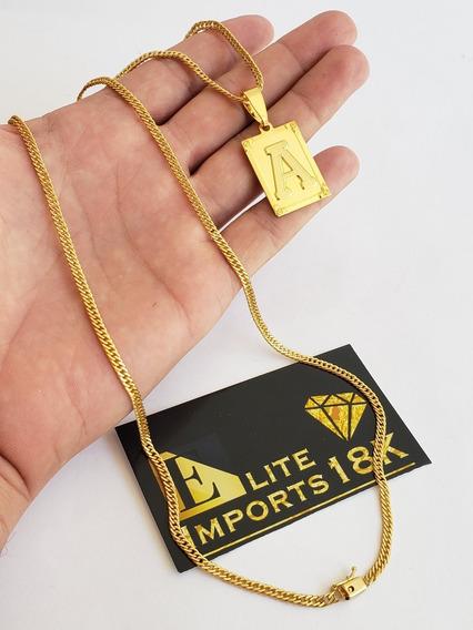 Cordão 3mm Grumet Pingente Letra Banhado A Ouro 18k Luxo