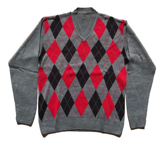 2 Blusas Masculina Lã Tricot Frio Gola V Losango Frete Gráti