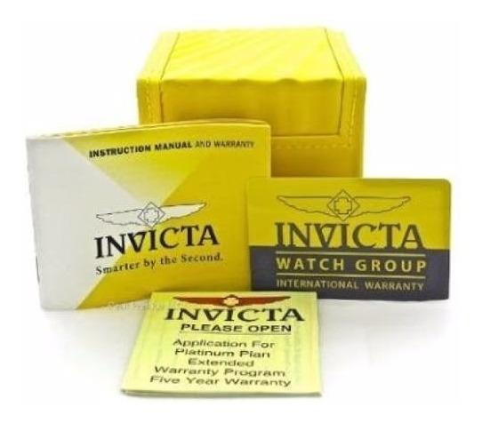 Caixa De Relogio Do Invicta Amarela + Manual+ Card+certicado