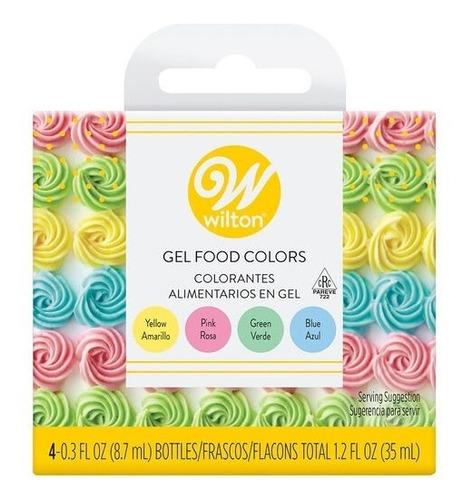 Imagen 1 de 6 de Colorante Gel X 4 Glase Masa Colores Pastel Wilton Titanweb
