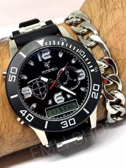 Relógio Luxo Dourado Militar Potenzia Barato + Cx + Pulseira