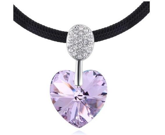 Collar Con Cristales Ocean Heart Oh18-157-baño De Oro