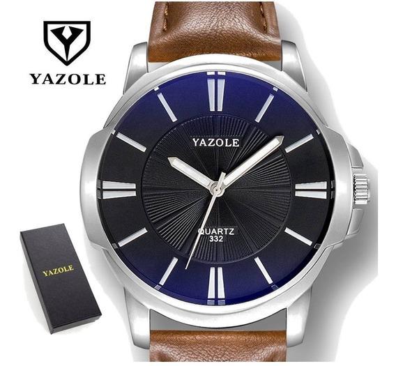 Relógio Masculino Marrom Yazole Couro Quartz Design + Caixa