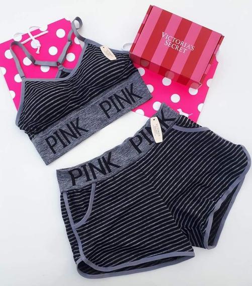 Top Y Short Letras Pink. Sexy Conjunto Deportivo Sport Bra