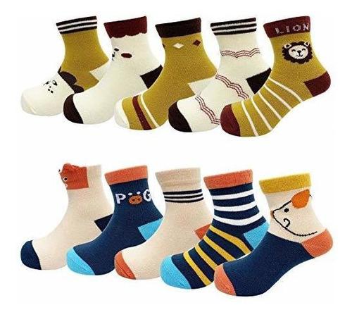 DEYOU Calcetines de beb/é calcetines con estampado de dibujos animados para beb/és y ni/ñas 10 pares//juego
