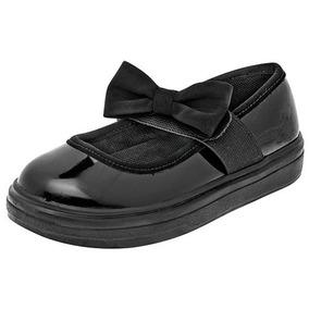 Dtt Zapatos Escolar Flats Chabelo Dama Sintético Negro 37258