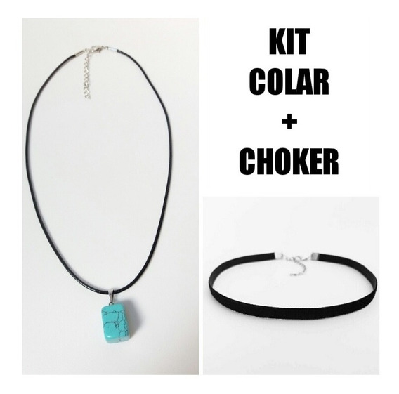 Kit Choker Veludo Preto + Colar Pedra Azul Frete Barato