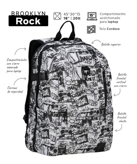 Mochila Brooklyn Rock Urbana 20 L Portanotebook Mooving