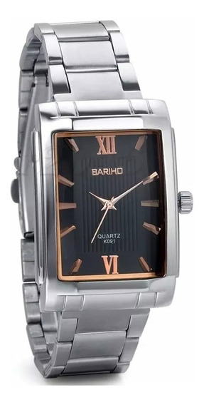 Relógio Masculino Quadrado Preto Prata Aço Cromado Barato
