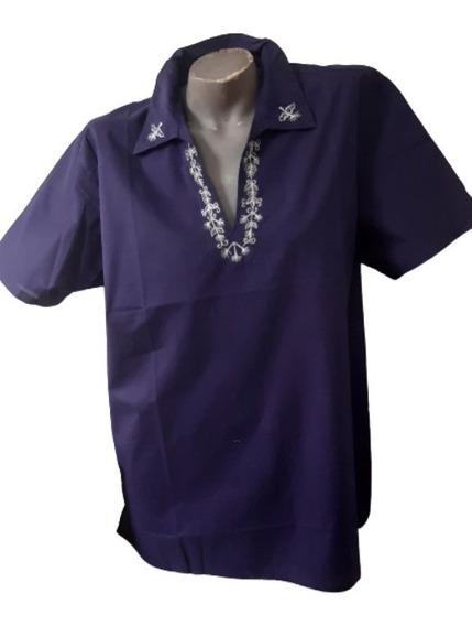 Camisa Bata Masculina Bordada Cambraia Algodão Mangas Curtas