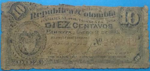Imagen 1 de 2 de Colombia 10 Centavos 2 Enero 1893. Banco Nacional