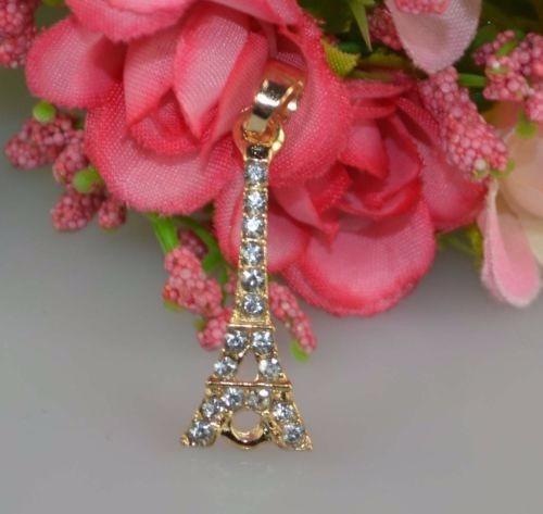 Lindo Pingente Dourado Com Strass Torre Eiffel