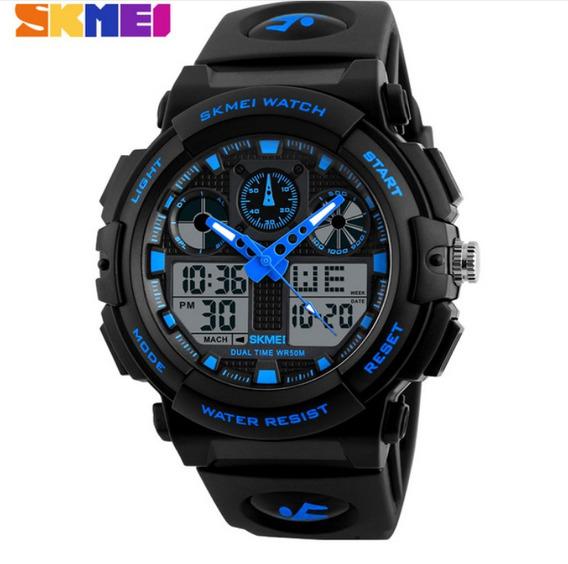 Relógio Masculino Azul Natação Borracha Skmei Frete Gratis