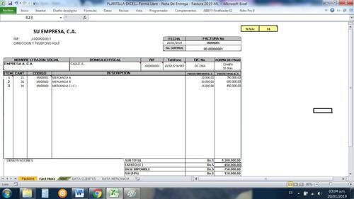 Formato Factura Presupuesto Y Nota De Entrega En Excel Mercado Libre
