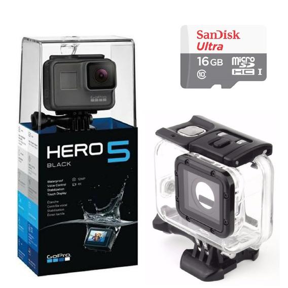 Gopro Hero 5 Black + Sd 16g + Caixa Estanque Hero5 - Com Nfe