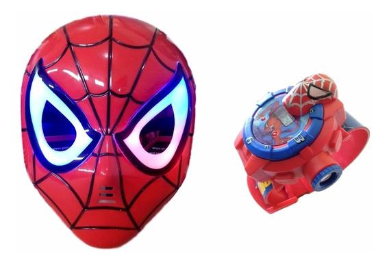 Relógio Infantil Homem Aranha Máscara Com Led
