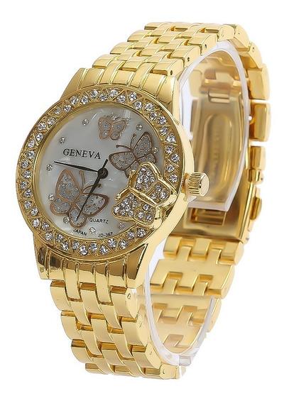 Relógio Feminino Promoção Analógico C/ Estojo Dourado Barato