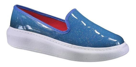 Tênis Dijean Verniz Glitter Azul 888/257