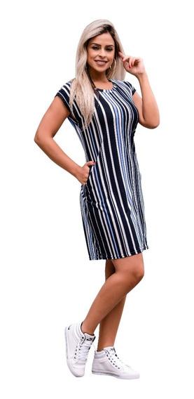 Vestido Feminino Midi Festa Social Soltinho Moda Evangelica Executiva Com Bolso