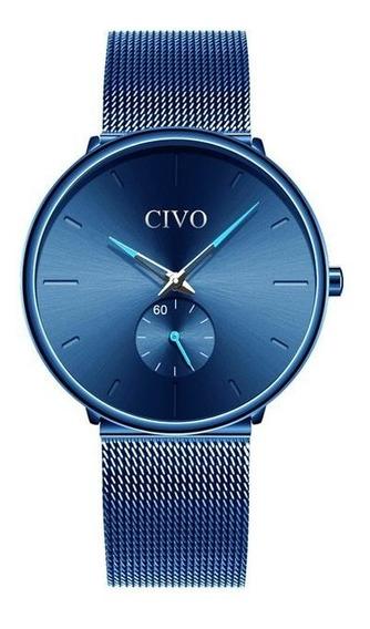 Relógio Civo Homem Mulher Azul A Prova D