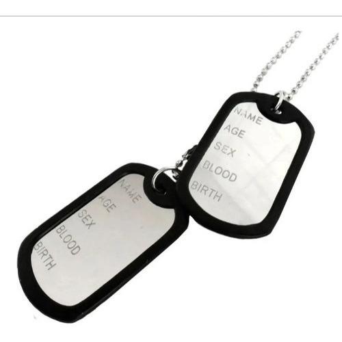 Corrente Identificação Placa Exército Dog Tag Inox Militar