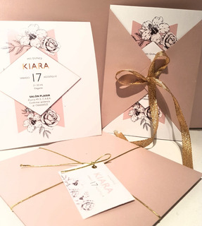 Invitaciones Rosa Vintage Tarjetas Boda 15 Años Casamiento