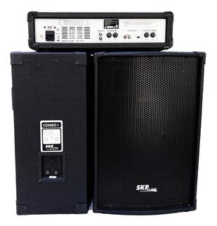 Combo Uno Skp Consola Potenciada 4 Ch 100 Rms + 2 Bafles 10