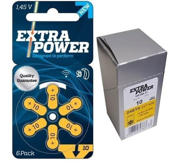60 Pilhas Baterias Aparelho Auditivo Modelo 10 - Extrapower
