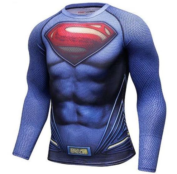 Camisa Compresion Dc Comics Superman Hombre De Acero Playera Hombre Manga Larga Licra Crossfit Gym Rashguard