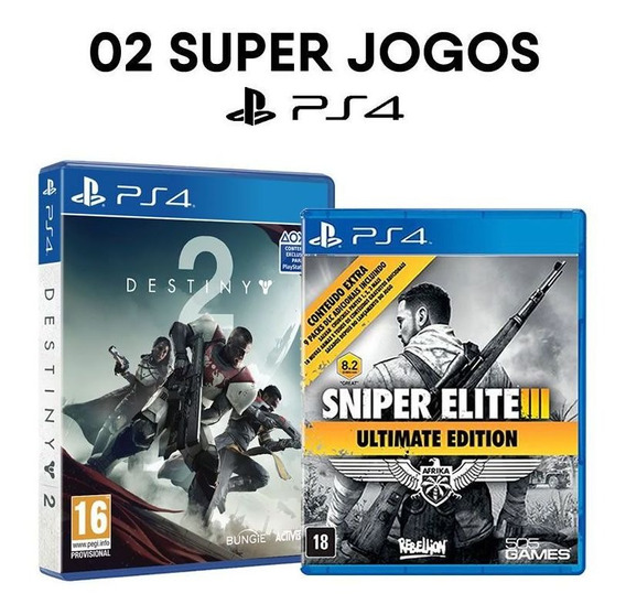Destiny 2 + Sniper Elite 3 - Ps4 [ Mídias Físicas, Originais E Lacradas ]
