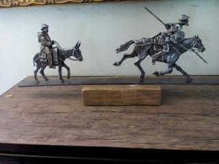 Escultura Quijote Y Sancho Panza Hierro Forjado