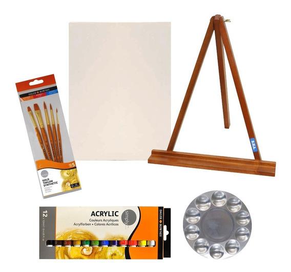 Set Arte Atril Acrilicos X12 Pinceles X5 Mezclador Harboard