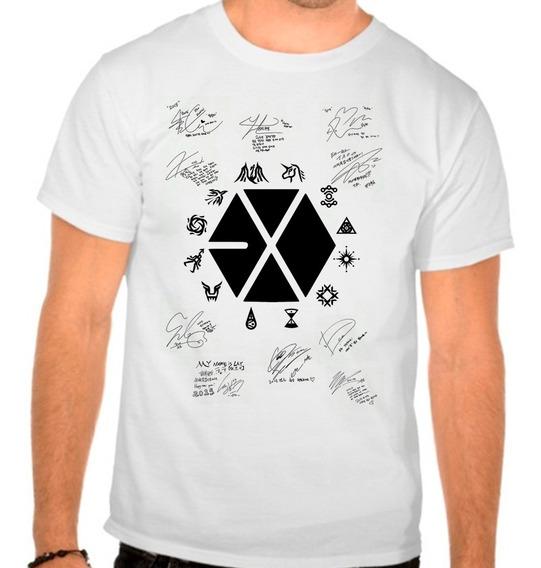 Camiseta Branca Kpop K-pop Exo Planet Autografos