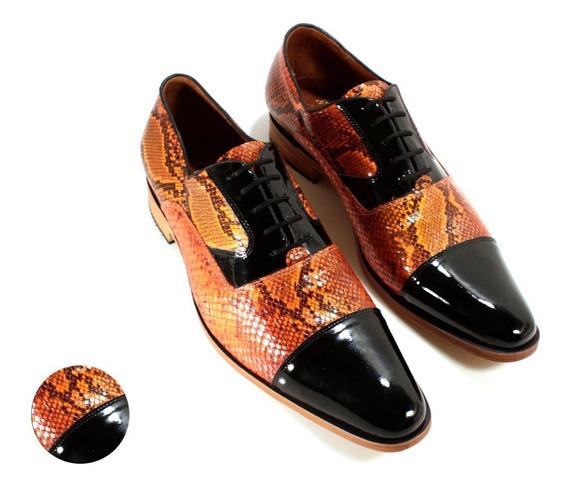 Zapato Hombre Oxford Cuero Anaconda Diseño Dante By Ghilardi