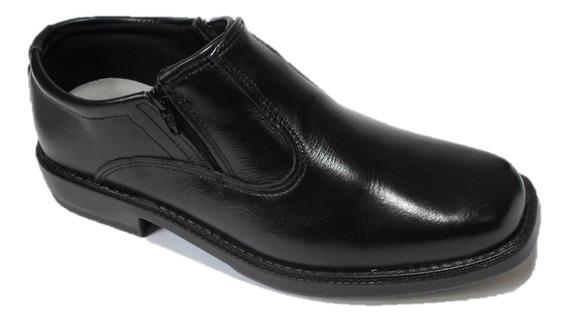 Sapato Preto Couro Social Masculino Com Ziper Sola Costurado