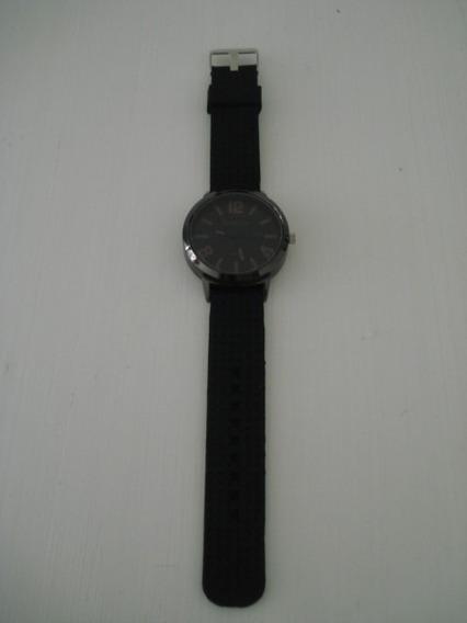 Relógio Preto Womage Esportivo Pulseira Borracha