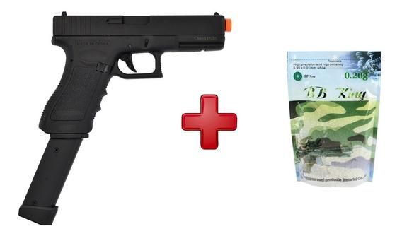 Pistola Airsoft Elétrica Glock Cm030 + Mag. Extendido + Bbs