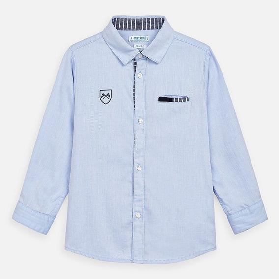 Camisa De Niño Manga Larga De Vestir (celeste) Mca Mayoral
