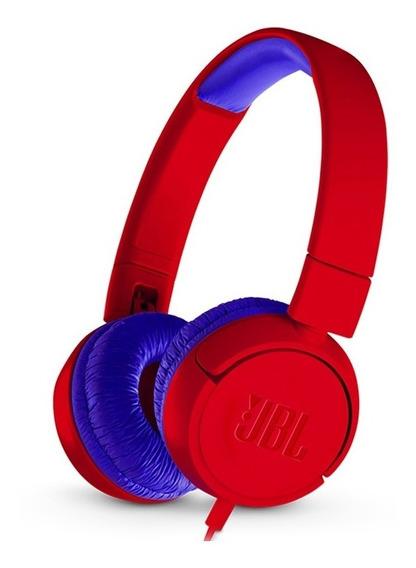 Fone De Ouvido Jbl Junior Jr300, Com Fio - Vermelho E Azul