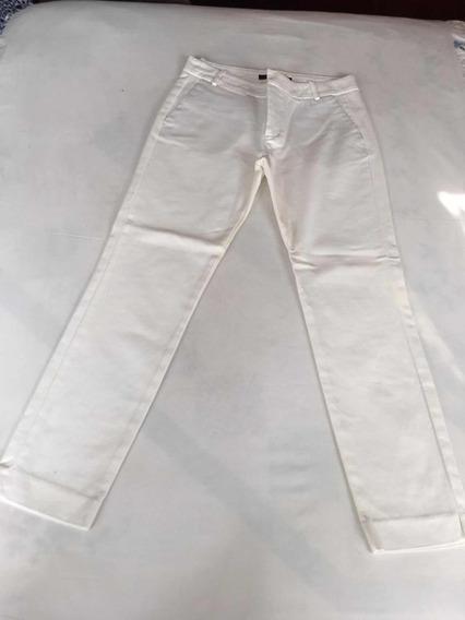 Zara Pantalón Para Dama Talla 26 Strech Color Blanco