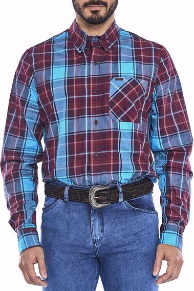 Camisa Masculina Manga Longa Country Regular Vinho Com Azul Tassa Xadrez