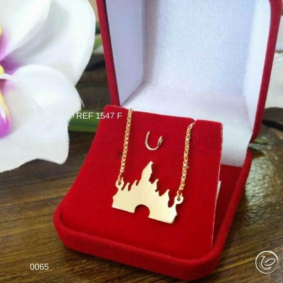 Corrente Castelo Disney Folheado A Ouro 18 K