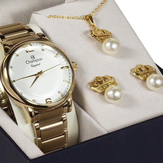 Relógio Dourado Champion Feminino Original + Kit