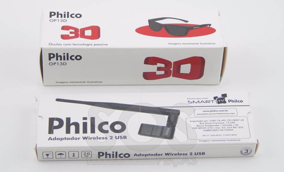 Adaptador Wireless Usb Para Smart Tv Philco + Óculos 3d