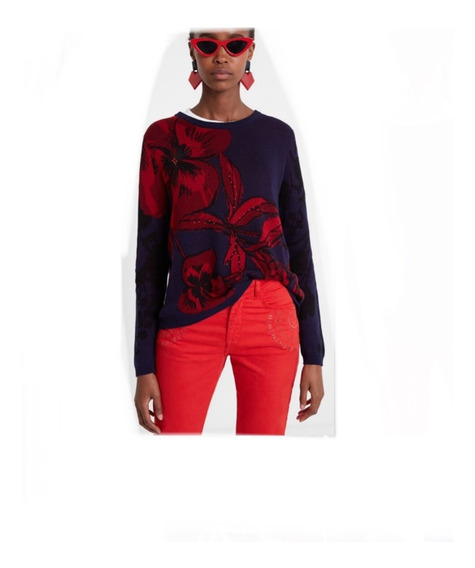 Suéter Desigual Mujer Azul Vino
