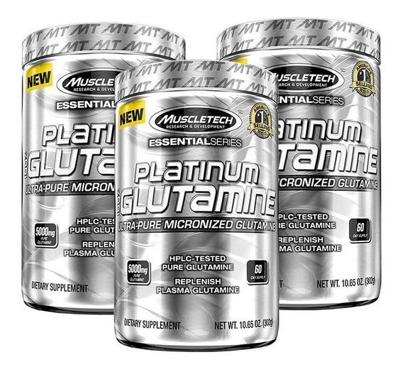 Glutamina Muscletech Platinum 302 G X 3 Unidades